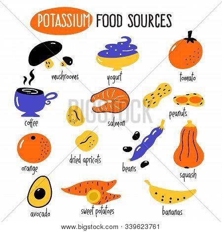 Vector Cartoon Illustration Of Potassium Food Sources. Infographic Elements