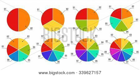 Circular Diagrams. Segmented And Multicolored Pie Charts, Financial Process Planning With Parts Or S