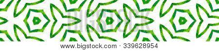 Green Kaleidoscope Seamless Border Scroll. Geometric Watercolor Frame. Bold Seamless Pattern. Medall