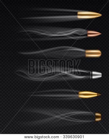 Flying Bullets. Realistic Different Fired Bullet In Motion With Smoke Traces, Gunshots Firearm Shoot