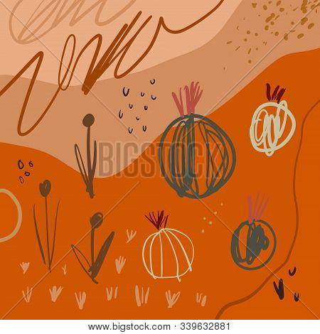 Abstract Aesthetic Spring Or Summer Cacti Pattern With Abstract Shapes At Terracotta Lcolor Backgrou