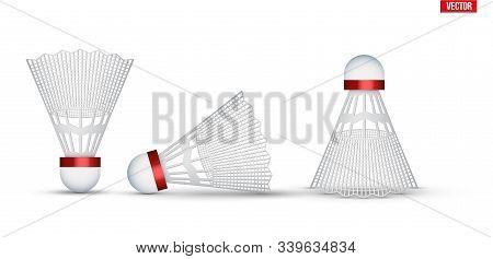 Set Of Badminton Shuttlecocks. Badminton Sport Equipment. Shuttlecocks From Various Anglesvector Ill