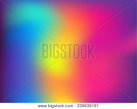 Blurred Hologram Texture Gradient Wallpaper. Lucent Neon Party Graphics Background. Polar Lights Liq