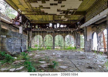 Abandoned Sanatorium In Kobuleti, A High Calving Building On The First Line.