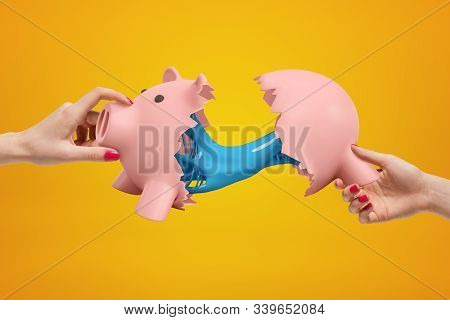 Two Womens Hands Holding Halves Of Broken Piggy Bank With Blue Sticky Slime Oozing From Its Insides