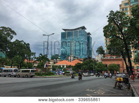 Saigon, Vietnam - May 22, 2015. Street Of Saigon Downtown. Saigon Is The Most Populous City In Vietn
