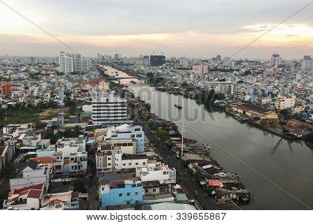 Saigon, Vietnam - May 22, 2015. Amazing Aerial View Of Saigon Cityscape Under Sunset Sky. Saigon Is