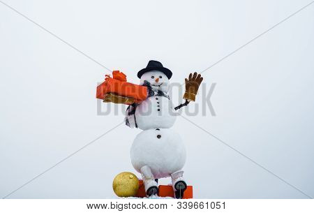 Happy Winter Time. Snowman. Snow Men In Hat, Scarf, Gloves With Gift And New Year Ball. Hello Winter
