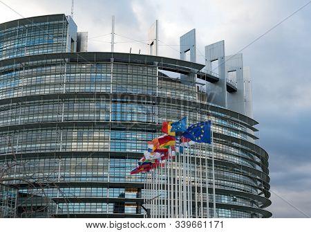 Strasbourg, Bas-rhin / France - 14. December, 2019: Horizontal View Of The European Union Parlament