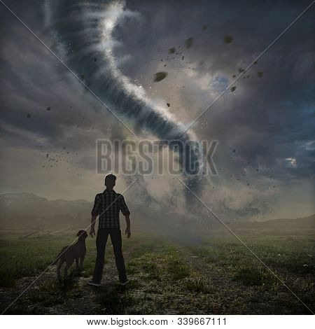 Dramatic Big Tornado Over A Field Approaches While Being Watched By A Man And His Dog, Photo, Hand-d