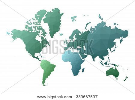 World Map. Excellent Low Poly Style Continents. Vector Illustration.