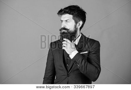 Fashion Concept. Guy Wear Formal Outfit. Impeccable Style. Businessman Fashionable Outfit Stand Viol