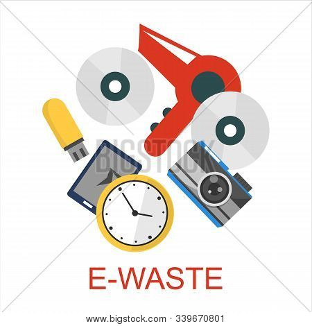E-waste Collection Vector Isolated. Recycling Electronic Rubbish