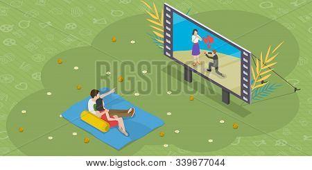 Isometric Flat Vector Concept Of Outdoor Cinema Theatre, Open Air Movie Watching