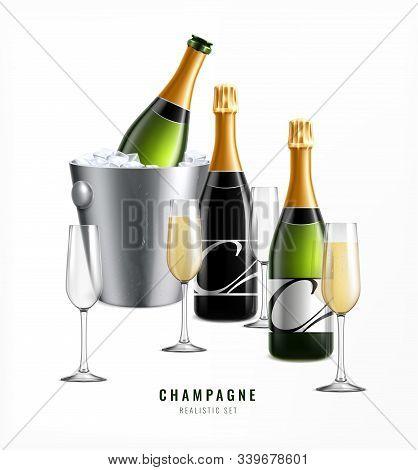 Champagne Realistic Composition With Text And Images Of Glasses With Ice Bucket And Bottles Of Premi