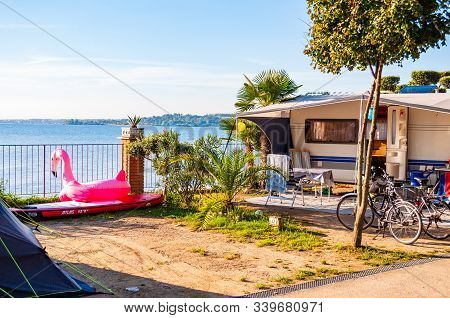 Camping La Ca, Garda Lake, Lombardy, Italy - September 12, 2019: Cozy Inside Landscape Design Of Cam