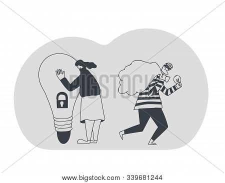Stop Plagiarism Concept, Infringement Of Copyright. Young Woman Trying To Protect Her Idea And Beard