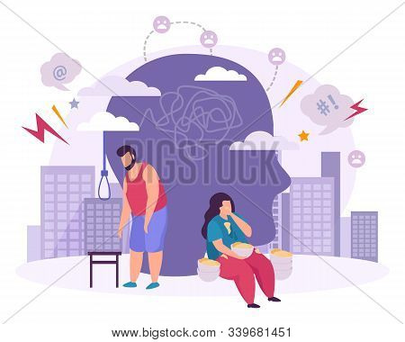 Mental Disorders  Flat Composition With Male And Female Characters Suffering From Bulimia And Suicid