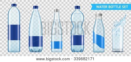 Realistic Mineral Water Bottle Set Of Six Isolated Images Of Plastic Bottles For Liquid On Transpare