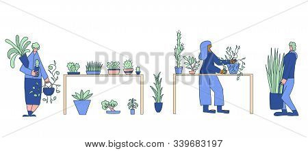 Flowers Swap. Houseplants Lovers Club Event. People Holding Their Plants. Set Of Hand Drawn Characte