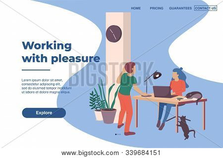 Working With Pleasure Page Design With Cats At Work Flat Vector Illustration