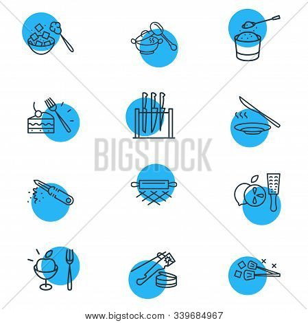 Vector Illustration Of 12 Cutlery Icons Line Style. Editable Set Of Ice Tongs, Dinner Knife, Sugar S