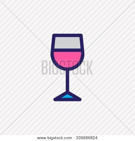 Illustration Of Wineglass Icon Colored Line. Beautiful Lifestyle Element Also Can Be Used As Caberne
