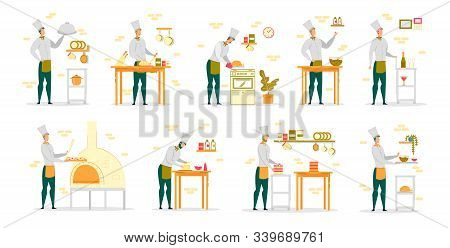 Cook Chef In White Robe And Uniform Cap Working In Restaurant Kitchen - Man Cartoon Characters Set.