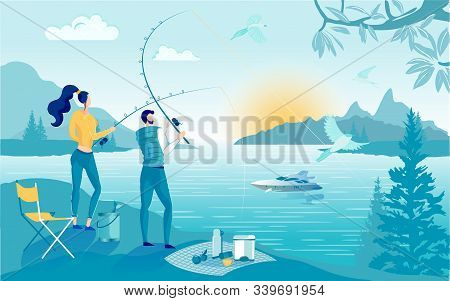 Young Couple Went Fishing Together, Bright Cartoon. Guy And Girl Spend Weekend Together In Nature. T
