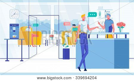 Customer In Company Or Corporation Reception Lobby With People, Employee And Visitor Characters. Man