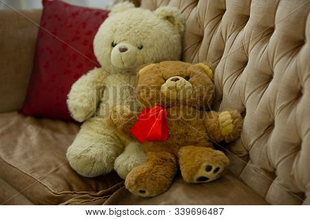 Relaxing Time, Two Teddy Bear Friend Sitting In The Bed, Vintage Warm Light Filter, Happy Lovely Ted