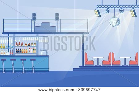 Empty Nightclub Interior Vector Illustration. Bar Counter With Alcohol Drink Bottles, Couches And Ta