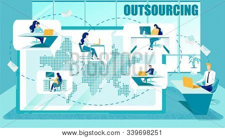 Outsourcing Or Subcontract Workers Attraction. Businesspeople Or Professionals Busy With Work On Com