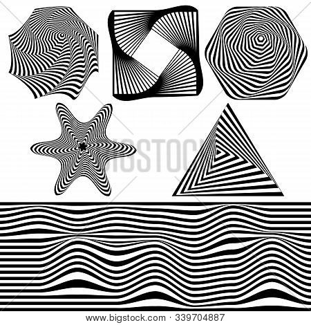 Set Of Abstract Optical Art Elements For Concept Design. 3d Optical Illusion, Line Art. Minimal Geom