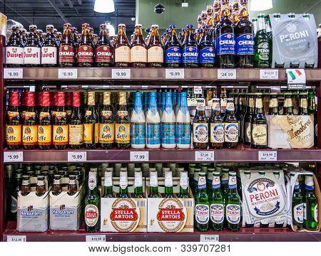 Melbourne, Australia - December 17, 2009: Murphy Liquor Store. Closeup Of Display On Shelf Of Select