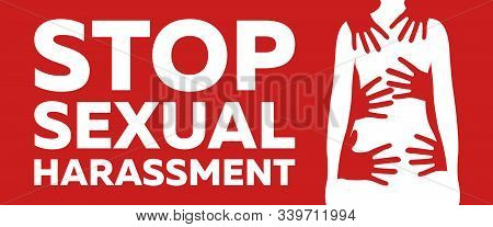 Stop Sexual Harassment And Bulling Banner On Red Background. Gender Equality Label And Logo. Toxic R