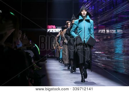 Zagreb, Croatia - October 26, 2019 : A Model Wearing Branka Donassy Fashion Collection On The Catwal