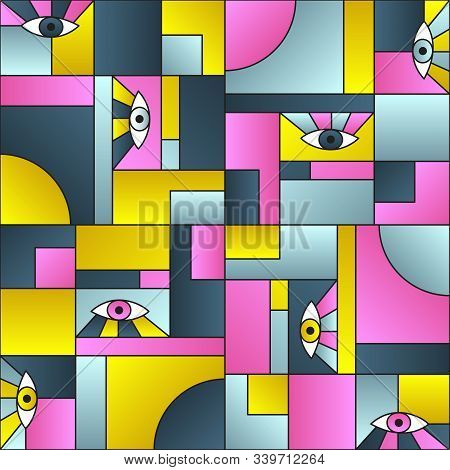 Flat pattern with eyes in geometric shapes grid mondrian avant garde fashion textile print. Patches composition tile. Open eyes bauhaus geometric seamless pattern. Gradient vector design. poster