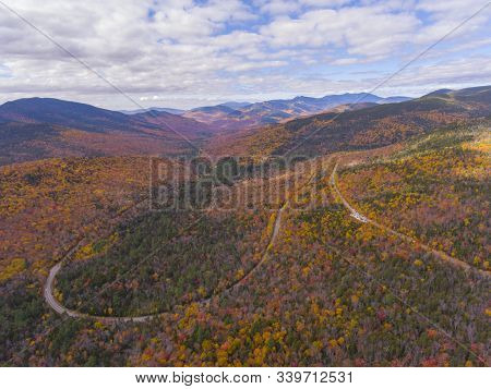 White Mountain National Forest Fall Foliage On Kancamagus Highway Near Hancock Notch Aerial View, To