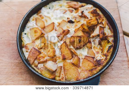 Potatoes Baked With Meat In The Oven. Delicious Dinner Recipe. Potato Pudding. Baked Potato. Beef Ca