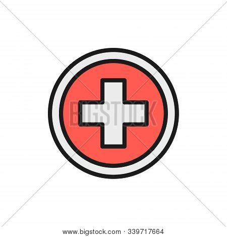 First Aid Sign, Pharmacy, Hospital Flat Color Line Icon.
