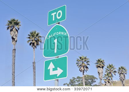 Roadsign on highway one in California