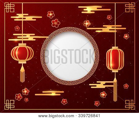 Chinese Lunar New Year Festival Poster Template Or Holiday Background. Vector Eps10