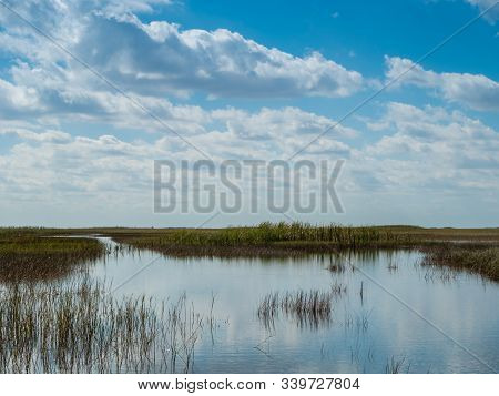 Far Reaching Everglades Grass And Water With Dynamic Sky In Everglades National Park, Florida, Usa