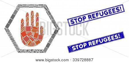 Mosaic Abort Hand Icon And Rectangle Stop Refugees Exclamation Rubber Prints. Flat Vector Abort Hand