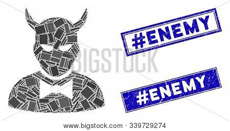 Mosaic Devil Icon And Rectangle Hashtag Enemy Seal Stamps. Flat Vector Devil Mosaic Icon Of Random R