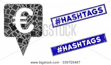 Mosaic Euro Map Pointer Pictogram And Rectangular Hashtag Hashtags Seal Stamps. Flat Vector Euro Map