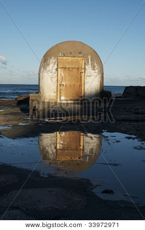 Public baths pump-house on ocean; Newcastle Beach, Newcastle, Australia