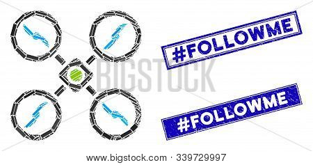 Mosaic Quadcopter Pictogram And Rectangle Hashtag Followme Stamps. Flat Vector Quadcopter Mosaic Pic
