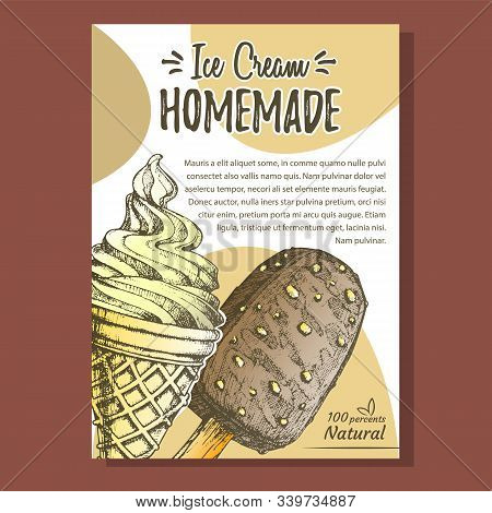 Ice Cream Covered Chocolate And Nuts Poster Vector. Creamy Frozen Dessert With Chocolate Glazed And